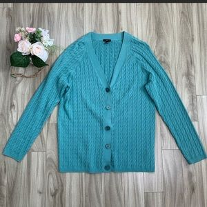 Talbots Light Teal Cable Knit V-Neck Cardigan